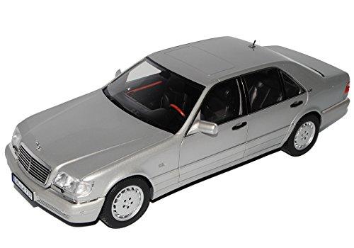 Norev Mercedes-Benz S-Klasse Grau Silber S600 W140 1991-1998 1/18 Modell Auto mit individiuellem Wunschkennzeichen