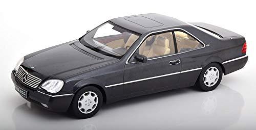 KK-Scale Mercedes-Benz SEC S-Klasse Coupe C140 Schwarz Anthrazit 1992-1998 1/18 Modell Auto mit individiuellem Wunschkennzeichen