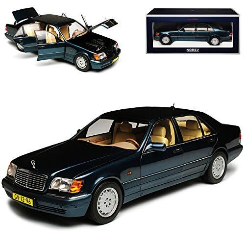 Norev Mercedes-Benz S-Klasse Dunkel Grün Metallic S600 W140 1991-1998 1/18 Modell Auto mit individiuellem Wunschkennzeichen