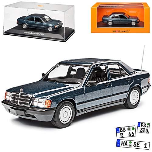 Mercedes-Benz C-Klasse 190E W201 Blau Metallic 1982-1993 1/43 Minichamps Maxichamps Modell Auto mit individiuellem Wunschkennzeichen