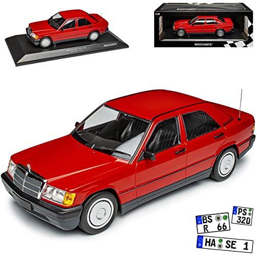 Mercedes-Benz C-Klasse 190E W201 Limousine Rot 1982-1993 limitiert 1 von 702 1/18 Minichamps Modell Auto mit individiuellem Wunschkennzeichen