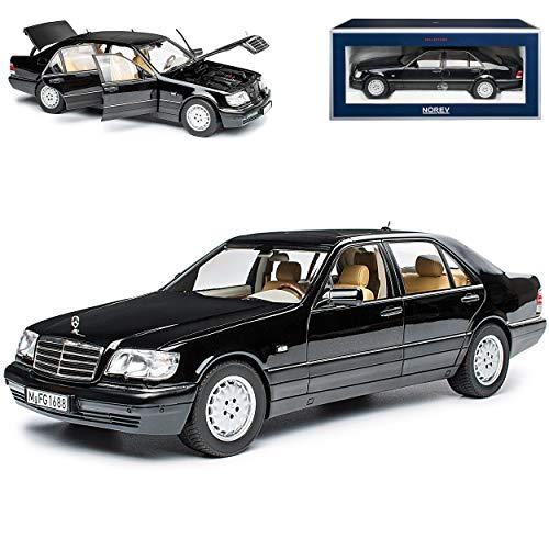Mercedes-Benz S-Klasse S320 Schwarz Metallic W140 1991-1998 1/18 Norev Modell Auto mit individiuellem Wunschkennzeichen