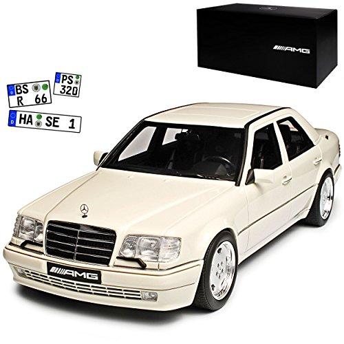 Mercedes-Benz E-Klasse E60 AMG W124 Limousine Arktik Weiss 1984-1997 1/18 Otto Modell Auto mit individiuellem Wunschkennzeichen