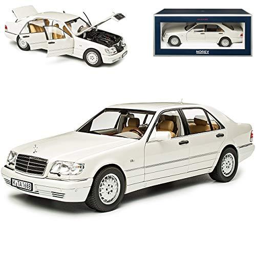 Mercedes-Benz S-Klasse S320 Weiss Metallic W140 1991-1998 1/18 Norev Modell Auto mit individiuellem Wunschkennzeichen